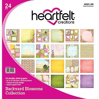 "Heartfelt Creations Double-Sided Paper Pad 12""X12"" 24/Pkg-Backyard Blossoms, 12 Designs/2 Each"