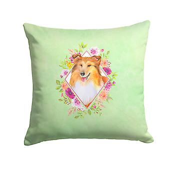 Sheltie Shetland Sheepdog Green Flowers Fabric Decorative Pillow