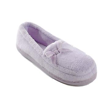 SlumberzzZ Womens Terry Fleece with Ribbon Moccasin Slippers - Lilac - 3 UK
