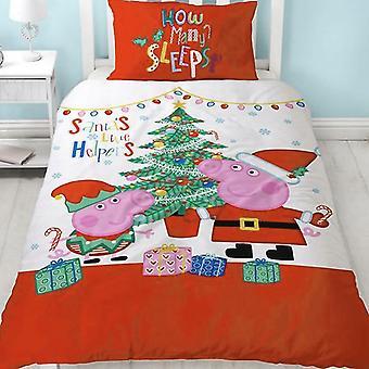 Peppa Pig Noel panel enkelt dyne sett