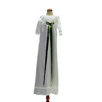 Vit Dopklänning Med Ljus Grön Rosett Grace Of Sweden  Ma.v