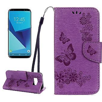 For Samsung Galaxy S8 Wallet Case,Fancy Butterflies,Emboss Leather Cover,Purple