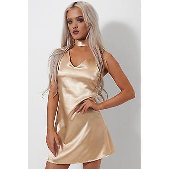 Siasa Gold Satin Choker Slip Dress