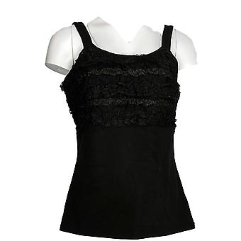 Kathleen Kirkwood Women's Top Stretch Tank Gathered Lace Black A234232