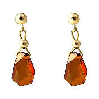 Gemshine Ohrringe Bernstein Tropfen hochwertig vergoldet - Made in Germany