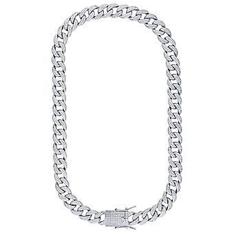 925 Sterling Sølv MennCZ Cubic Zirconia Simulert Diamond Miami Fortauskant Kjeden 14mm 30 tommers smykker gaver til menn