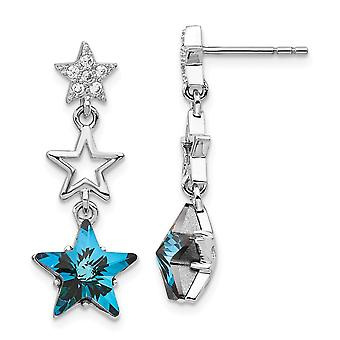 925 Sterling Silver Rhodium plated Clear and Blue Crystal Star Dangle Post Earrings Jewelry Gifts for Women