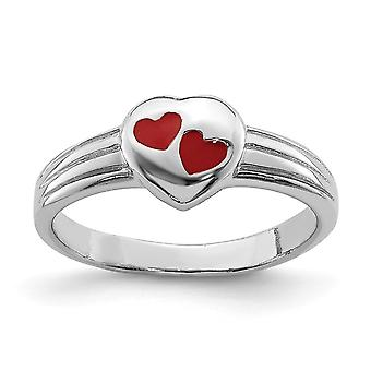 925 Sterling Silver Polished Rh Plated for boys or girls Red Enameled Love Heart Ring - Ring Size: 3 to 4