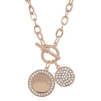Belle & Beau Rose Gold Plated Double Crystal Disc Necklace