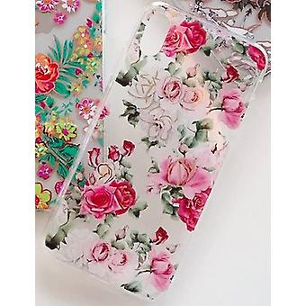Mobile shell for iPhoneXR in beautiful pattern with pink roses