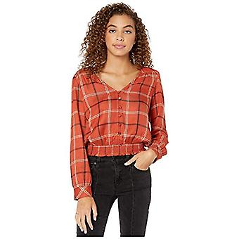 Sanctuary Fool for You Smocked Top New Earth Plaid SM (US 4-6)