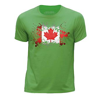 STUFF4 Boy's Round Neck T-Shirt/Canada/Canadian Flag/Green
