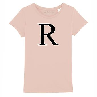 STUFF4 Girl's Round Neck T-Shirt/Alphabet Letter Initial R/Coral Pink