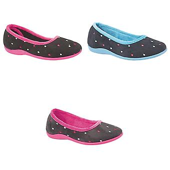Sleepers Womens/Ladies Isla Dotted Ballerina Memory Foam Slippers