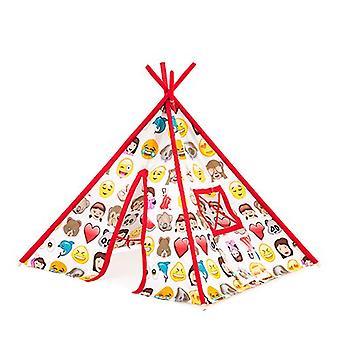 Klaar Steady Bed Children's Emoji Print Indoor Garden Playroom Play Tent Teepee Wigwam
