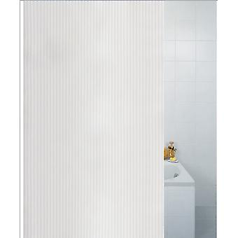 White Textile Stripe Polyester Shower Curtain 180 x 180cm