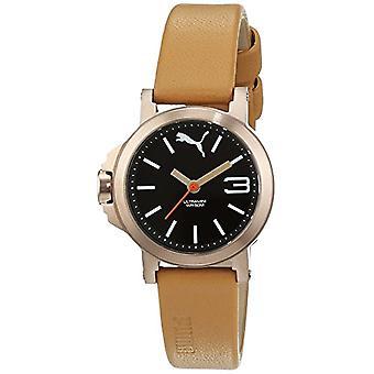 PUMA wrist watch, female, analog, black leather strap