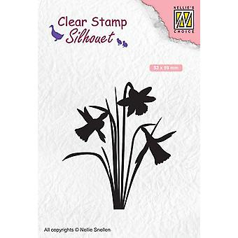 Nellie's Choice Clearstamp - Silhouette daffodil SIL064 53x59mm (02-20)