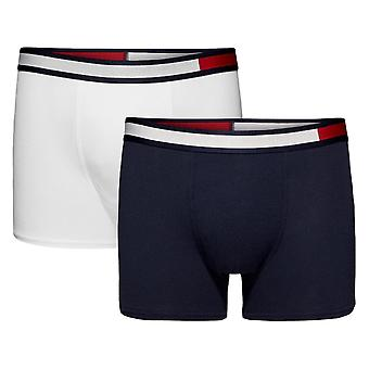 Tommy Hilfiger Boys 2 Pack Colour Block Cotton Trunks - White/Navy Blazer