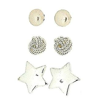 TOC Sterling Silver Simulated Pearl, Woolmark & Star Stud Earrings - 3 Pairs