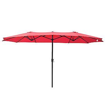 Yescom 14' Double-sided Twin Patio Umbrella Sun Shade UV30+ Water Fade Resistant Crank Outdoor Garden Market Red