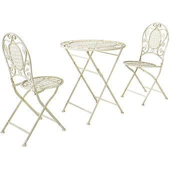 SoBuy OGT35-W, Foldable 3 Pieces Metal Outdoor Garden Bistro Balcony Furniture Set, Folding Round Table and 2 Chairs, Antique Cream