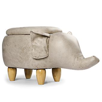 YANGFAN Durable Flying Elephant Foot Stool with Lid and Wood Legs