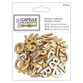 Papermania Kapsel Elemente Metallic Klebstoff Holz Alphabet Pack (81pcs) (PMA 174679)