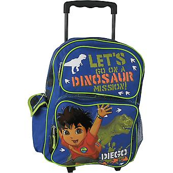 Large Rolling Backpack - Go Diego Go - Dinosaur School Boys Bag 807211