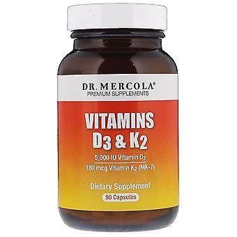 Dr. Mercola, Vitaminen D3 & K2, 90 capsules