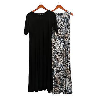 Attitudes by Renee Petite Dress Set/2 Printed & Solid Maxi Black A375422