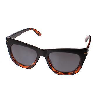 Gafas de sol de mujer negro / rojo-marrón con lente gris (16-092)
