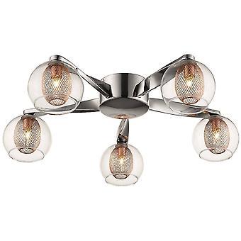 5 Light Flush Multi Arm Mesh Ceiling Light Chrome, Copper, G9