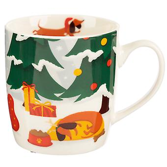Christmas Porcelain Mug - Dachshund through the Snow