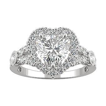 14K White Gold Moissanite door Charles & Colvard 7mm hart Verlovings ring, 1,79 cttw dauw