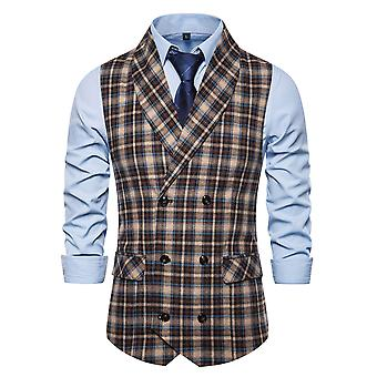 YANGFAN Mens Check Suit Waistcoat Vest Double-Breasted Button Casual Gilet