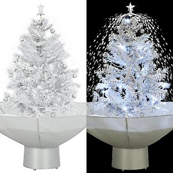 Snowing Christmas tree with umbrella foot White 75 cm