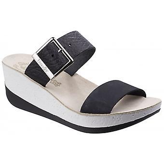 Fantasy Sandals Artemis Ladies Leather Wedge Sandals Black