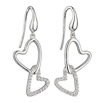 Elementos plata 925 plata de ley señoras interconectadas corazón gota gancho pendientes con zirconia cúbica