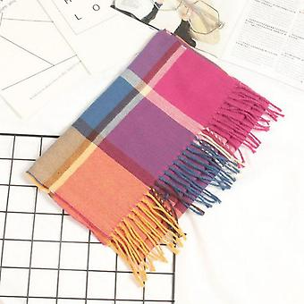 Men's And' Neckwear, Cashmere Check's Scarf In Autumn And Winter, Long Thick