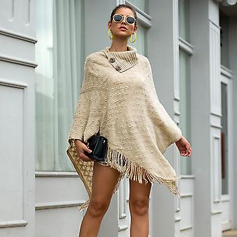 Women Winter Button Half Open Collar Pull Diamond Knitted Sweater