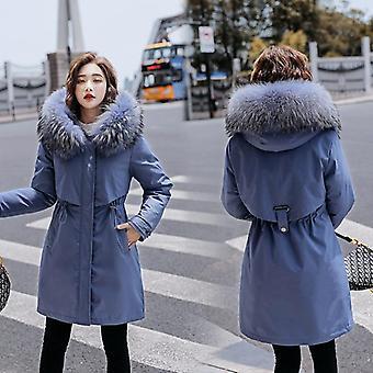 冬のフリース インサイドパーカープラスサイズ厚い暖かいミッドロングフードジャケット