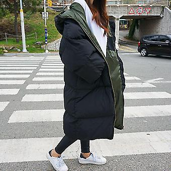 Herbst/Winter warm dick lange Unten Baumwolle weibliche lose übergroße Kapuzenmantel