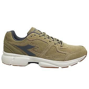Diadora Shape 8 Suede Leather Beige Low Lace Up Mens Running Trainers C2762