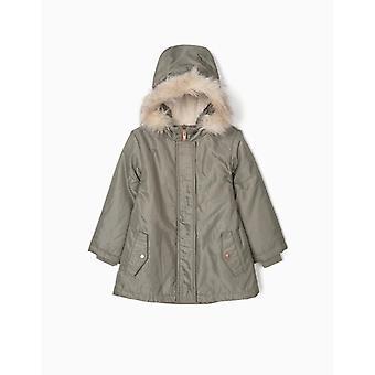 Zippy Khaki Hooded Parka With Fur