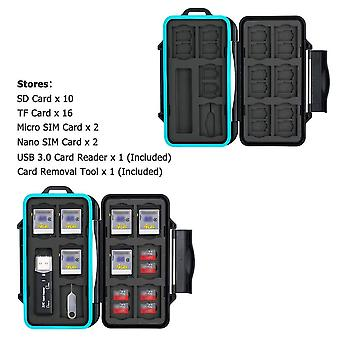 Jjc memory card case 30 slots carrying water-resistant holder storage sd sdhc sdxc micro sd tf cards