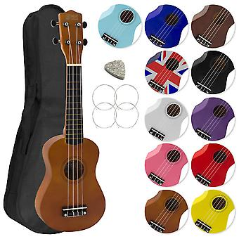 Soprano ukulele for beginners and gig bag - natural