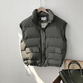 Autumn, Winter Women Vest Cotton-padded, Short Waistcoat, Plus Size, Sleeveless