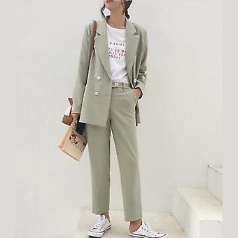Vintage Autumn Winter Thicken Women Pant Suit