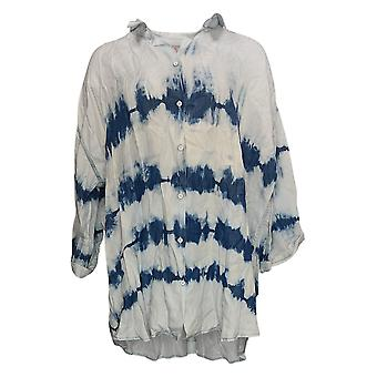 Laurie Felt Women's Plus Top Tye Dye Painter Camisa azul A379356
